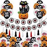 KOUQI Decorando Globos De Fiesta Nuevo Tema Skull Draw Flag Black Orange Balloon Set Traje de Gato de Calabaza de Halloween