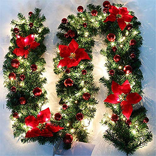Jspoir Melodiz 9ft Illuminated Garland Fireplace Xmas Tree Decoration LED Light Pine Xmas Festive Wreath Stairs Fireplaces Pre-Lit Decorated by 3 AA Batteries (Red)