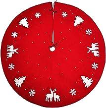KESYOO Red Christmas Tree Skirt Xmas Tree Reindeer Printed Christmas Tree Apron Xmas Tree Skirt for Christmas Holiday Deco...
