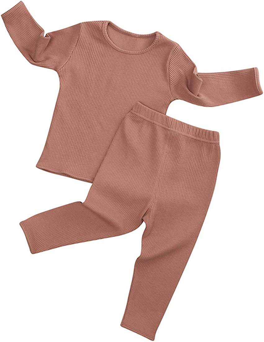 MYGBCPJS Baby Boys Girls Solid Cotton Sleepwear Kids Outfits Long Sleeve Tops + Elastic Pants 2Pcs Pajamas Set