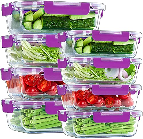MIGUOR 8 Pack Glass Food Storage Containers Airtight BPA-Free Hinged Locking Lids - 100% Leakproof Glass Meal Prep Food Containers with Lids