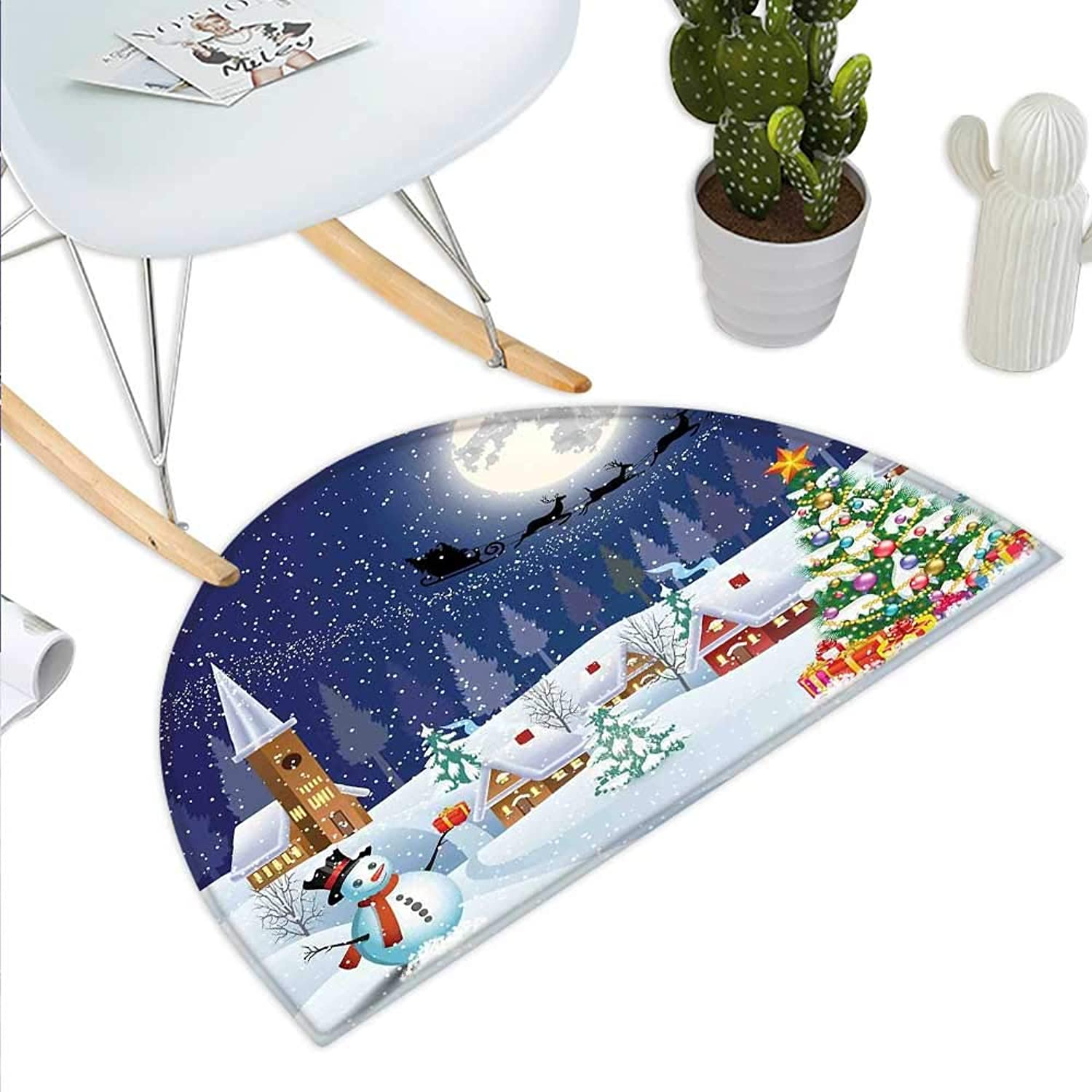 Christmas Semicircle Doormat Winter Season Snowman Xmas Tree Santa Sleigh Moon Present Boxes Snow and Stars Halfmoon doormats H 43.3  xD 64.9  bluee White