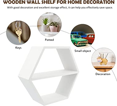 BESPORTBLE Hexagonal Floating Shelves Wood Farmhouse Storage Honeycomb Wall Shelf for Living Room Office Bedroom Bookshelf Ki