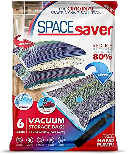 Sacs de Rangement Sous Vide Jumbo 100x80cm Premium Space Saver + Sans Hand-Pump Pour Voyage.(80% de L'espace de Stockage Plus Que Les Autres Marques. (Garantie de Remplacement à Vie!) - Pack of 6