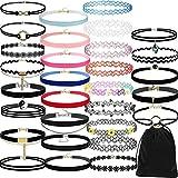 VJGOAL Damen Halskette, 30 Stück Mädchen Choker Halskette Set Stretch Velvet Klassische Gothic...
