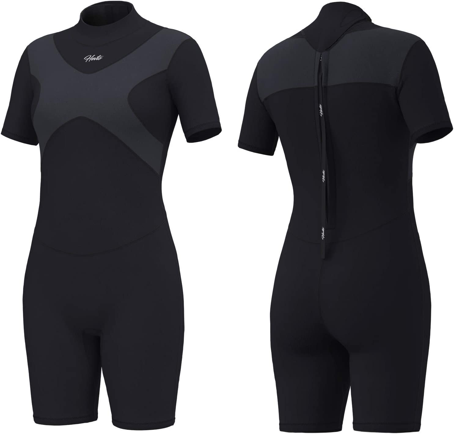 Hevto Shorty Wetsuits X Men and Women 3mm Neoprene Scuba Diving Suits Surfing Swimming Short Sleeve Back Zip