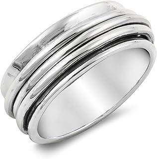Style SR76 Energy Stone Dolphin Dance Sterling Silver Meditation Spinner Ring