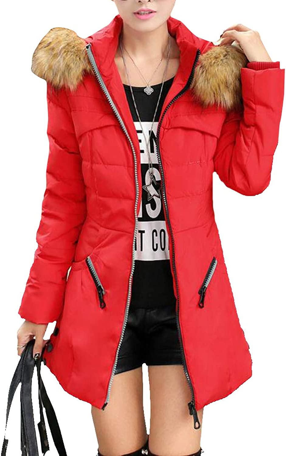 Macondoo Womens Thickened Faux Fur Collar Quilted Outerwear Hoodie Parkas Coats