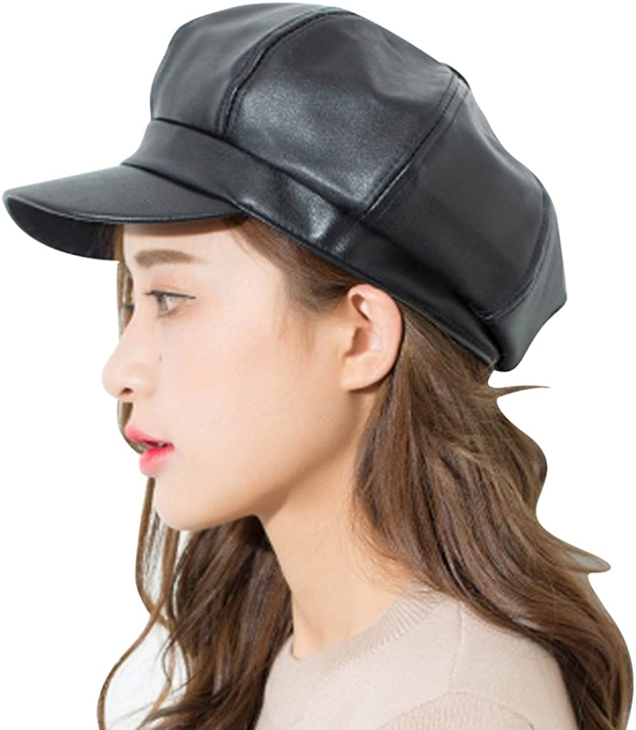 Clecibor Max Cheap bargain 88% OFF Faux Leather Octagonal Cap Solid Hat Newsboy Unisex Pai