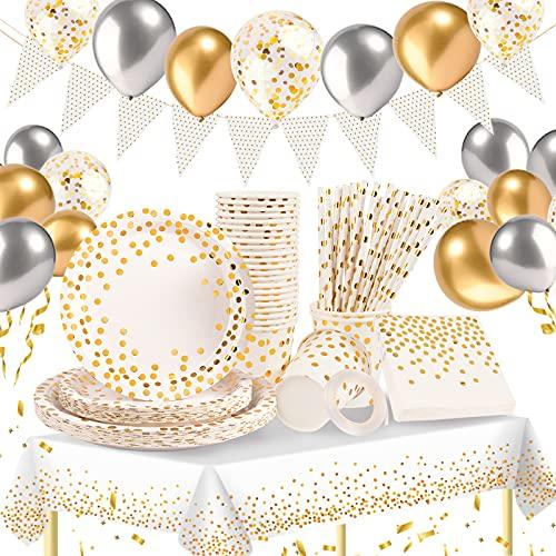 Hilsoeet Vajilla Desechable 157 Pcs Platos desechables para fiestas con globos, platos de papel, servilletas, paja, para 25 invitados Blanco