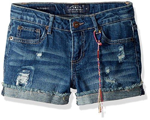 Lucky Brand Little Girls' 5-Pocket Cuffed Stretch Denim Short, Ronnie Ada wash, 6X