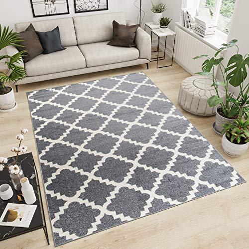 Tapiso Designer Teppich Wohnzimmer Teppich KURZFLOR GRAU MODERN MAROKKANISCHE Muster 140 x 190 cm