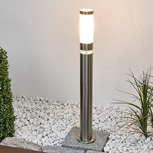 Lindby LED Wegeleuchte Edelstahl | Pollerleuchte rund IP 44 | 1x E27 (exklusive) & 1 x 0,7 W LED A++ (inklusive) | Aussenleuchte | Wegebeleuchtung aussen Garten, Hof, Einfahrt, Garage