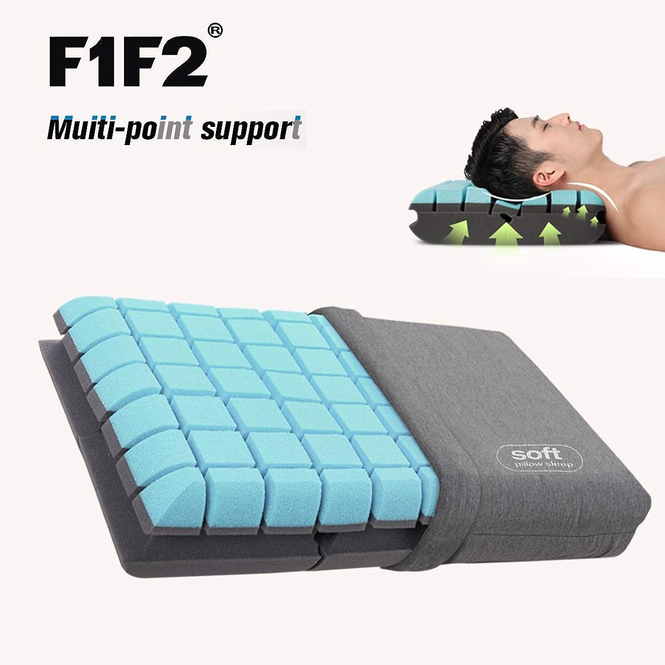 記録どきどき別のF1F2 快眠枕 枕強力サポート肩こり首こりを防ぐ 頚椎サポート健康枕通気性抜群いびき軽減仰向けでも横向きでも、37x59x10cm