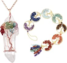JOVIVI Bundle - 2 Items 7 Chakra Gemstone Healing Crystal Tree of Life Wire Wrapped Natural Clear Quartz Stones Point Pendant Necklace + Chakra Tree of Life Hanging Ornaments for Home Decorations