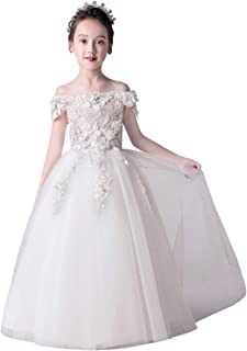 MisShow Girl Dress Off The Shoulder Lace Applique Princess Pageant Prom Ball Gown