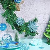 50 Stücke Kunststoff Funkeln Schneeflocken Ornamente für Weihnachten Dekoration, Verschiedene Größen (Blau Glitzer) - 2