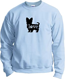 ThisWear Yorkshire Terrier Love Dog Paw Prints Crewneck Sweatshirt