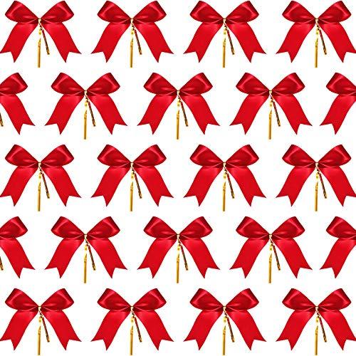 Sumind 72 Piezas de Lazo de Navidad Lazo de Cinta Rojo Lazo de Cola de Milano con Lazos Dorados para Árbol de Navidad, Corona de Navidad, Decoración de Regalo