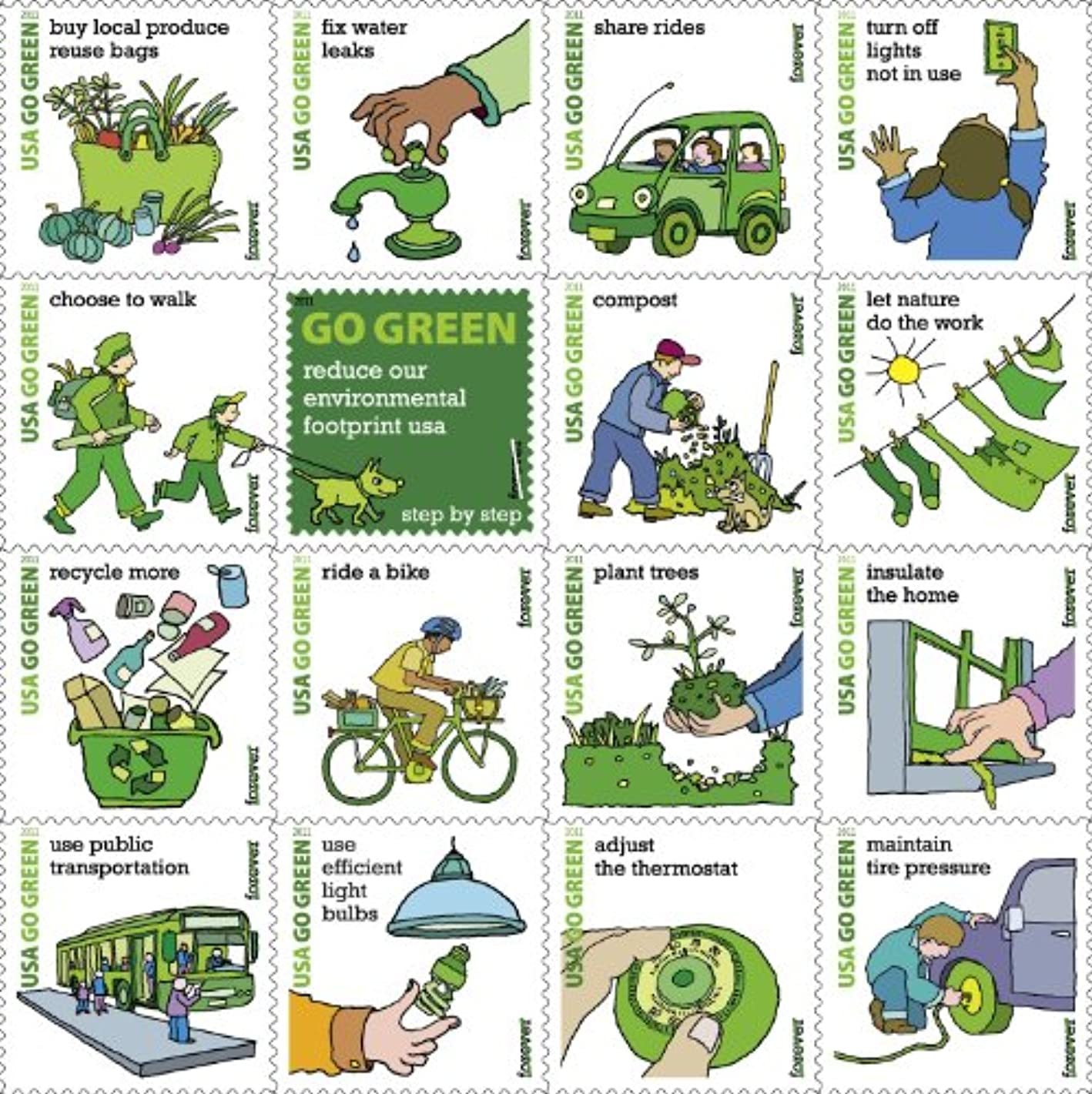 2011 Go Green Sheet of Sixteen Forever Stamps Scott 4524 By USPS