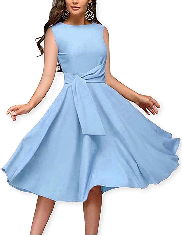 Fankle Women's Short Sleeve Crew Neck T Shirt Dress Tie Waist Ruched Flare Mini Dress