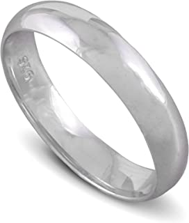 chimoda Mens Silver 6mm Band Ring in 925 Sterling