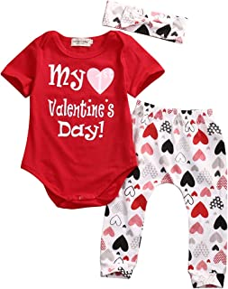 Newborn Baby Girls My First Valentine's Day Outfit Red Short Sleeve Romper Tops Heart Pants Headband 3Pcs Clothing Set