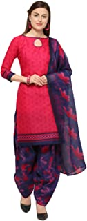 Rajnandini Pink Cotton Salwar Suit For Women (Ready To Wear)(One Size)
