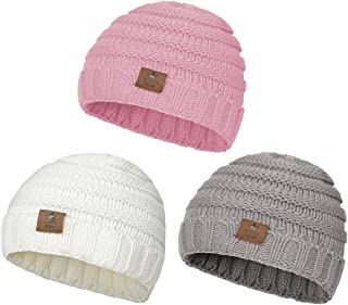 Zando   Winter Baby Beanie Hat Cute Soft Warm Knitted Beanies Infant Toddler Cozy Cap for Boys Girls C 3 Pack White Grey Pink One Size(6-48 Months)