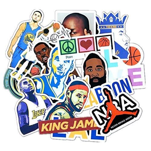 Basketball Star Tide Brand Sticker Computer Mobile Phone Trend Graffiti Fan Suitcase Skateboard Waterproof Sticker 17 Pcs