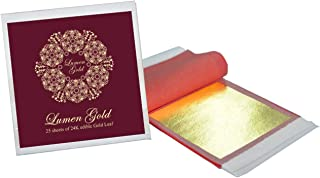 24 Karat Edible Gold Leaf 25 Sheets 8 x 8 cm (3.15x3.15 inches) Pure Genuine Gold Foil for Desserts, Cake, Food, Spa, Facials, Art & Crafts, Gilding, Drinks | Deco, DIY Projects