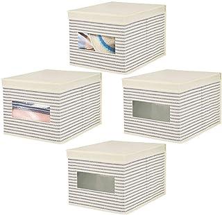 mDesign boîte de Rangement empilable en Fibre synthétique (Lot de 4) – Caisse de Rangement avec Couvercle et fenêtre pour ...