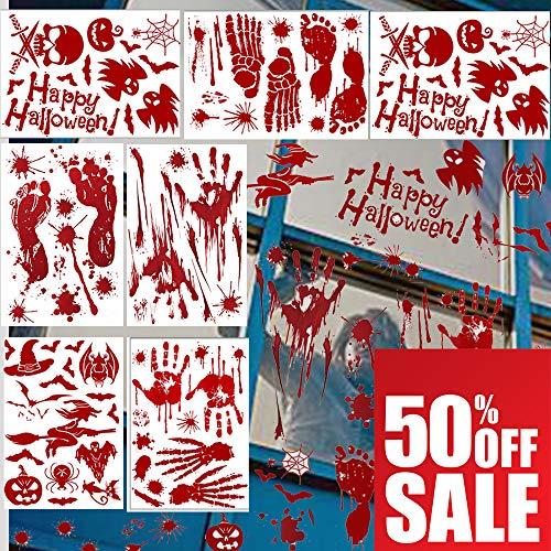 TECHSHARE Halloween Dekorationen Aufkleber Blutiger FußabdruckHandabdruck Blutflecken Aufkleber Kürbis Fensteraufkleber für Vampire Zombie Party Horror Thema Badezimmer Dekor Fensteraufkleber 10Stück