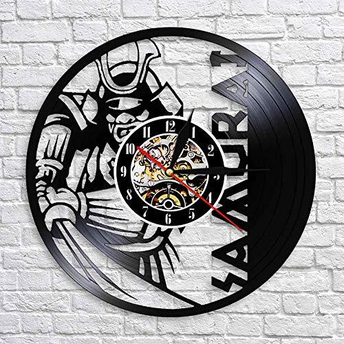QIANGTOU Japanischer Krieger Wandkunst Wanduhr Samurai Vintage Schallplatte Uhr Bushido Wand Dekor Janpanese Kultur Enthusiasten Geschenk