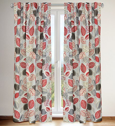 "LJ Home Fashions 540 Shelby Vintage inspired Floral Leaf Print Hidden Tab Top Curtain Panels (Set of 2) 54"" W x 88"" L, Ivory/Warm Brown/Barnyard Red/Grey"