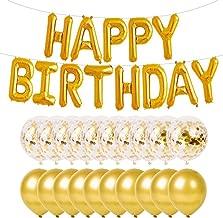 PartyMart Gold Happy Birthday Balloon with Confetti Balloons and Latex Balloon
