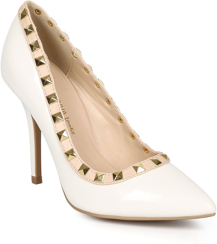Wild Diva Women Patent Pointy Toe Stud Single Sole Stiletto Pump CH60 - White Patent