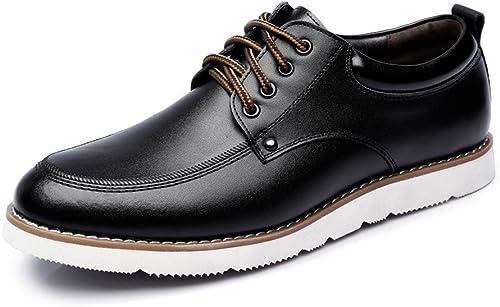 JIALUN-des Chaussures Chaussures Chaussures Lace Up Mocassins PU Cuir Décontracté Affaires Soft Flats Sole Oxfords (Couleur   Noir, Taille   44 EU) 672