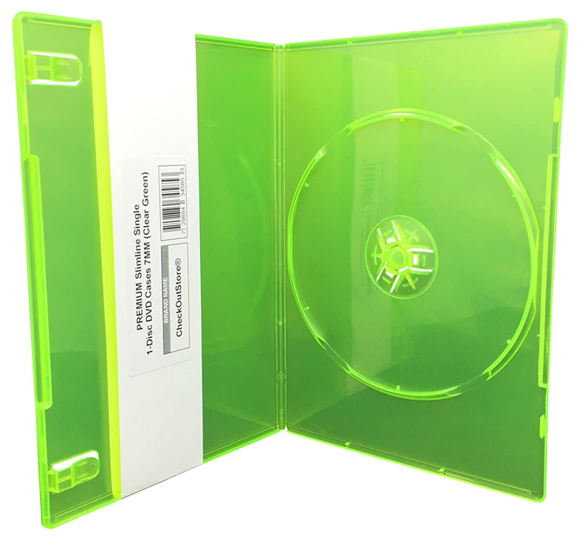 CheckOutStore (50) Premium Slimline Single 1-Disc DVD Cases 7mm (Clear Green)