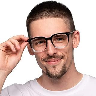 Firmoo Blue Light Blocking Glasses for Computer Use Filter UV400 Glare Minimize Headache Eyestrain Square Nerd Black-Clear Gradient Eyewear Frame Glasses Non Prescription