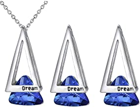 Jewelry مجوهرات Elegant Triangle Gemstone Pendant Jewellery Set Crystal Charms Necklace and Earrings Set Costume Decoration for Women Girl,Colour Name:Blue جواهر سازی (Color : Blue)
