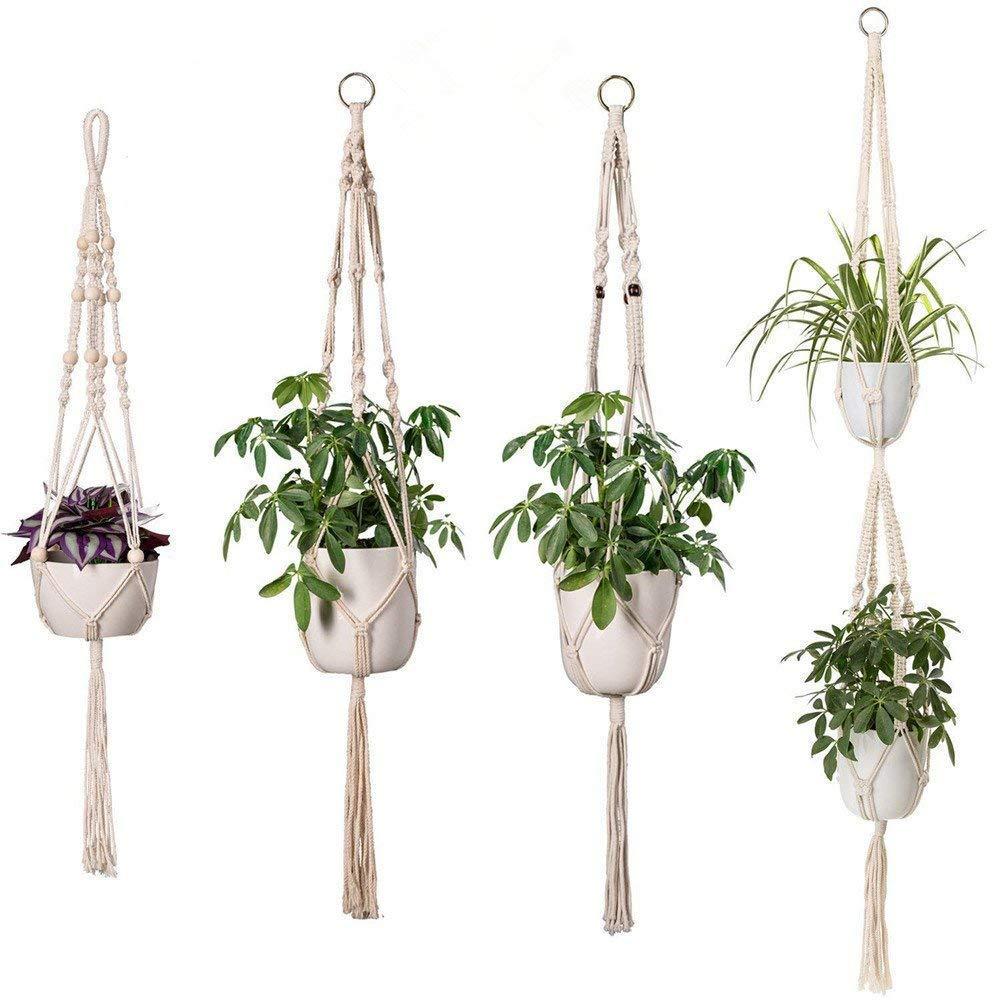 Gspirit Macramé Planta Percha, Hecho a Mano Algodón Cuerda Interior Al Aire Libre Colgando Plantador Maceta Poseedor para Casa Decoración, Paquete de 4 en Diferentes diseños: Amazon.es: Jardín