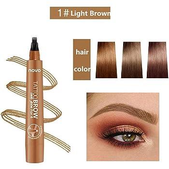 Lapiz Cejas, Tattoo Eyebrow Pen, Impermeable Lápiz de Cejas, Tattoo Eyebrow Pen con cuatro puntas duraderas, larga duración, impermeable, a prueba de manchas, aspecto natural - 3 Pcs: Amazon.es: Belleza