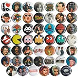 Huge Wholesale Lot of 48 1980s 1 Inch Pins/Buttons/Badges
