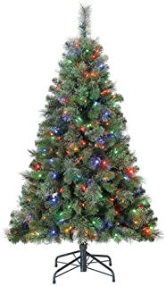 Home Heritage 5 Foot Cascade Cashmere Quick Set Christmas Tree with Changing White and Colorful LED Lights