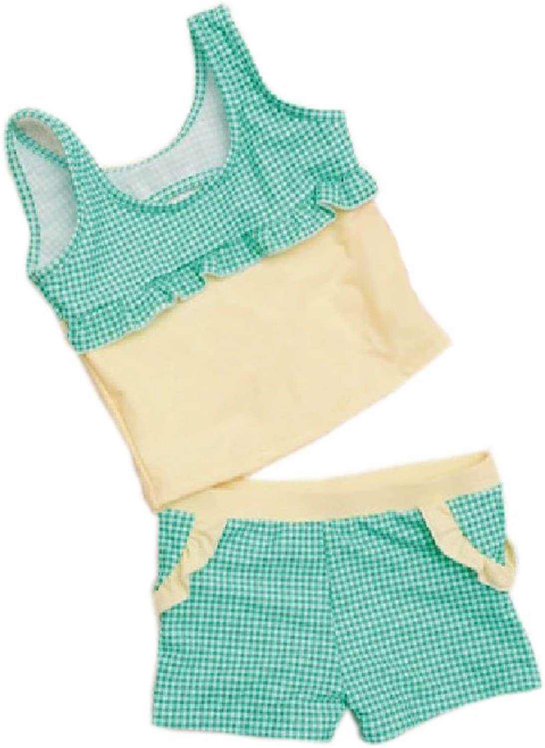 2 Pieces Swimsuit Bathing Suit Tank Aqua Tartan, Girl, 80100CM, 36 Years Old