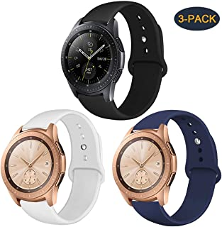 Compatible with Samsung Galaxy Watch 42mm Band/Galaxy Watch Active 40mm Bands, 20mm Silicone Strap Sports Replacement Wristband Women Men for Galaxy Watch Active (Black/White/Midnight Blue, Large)
