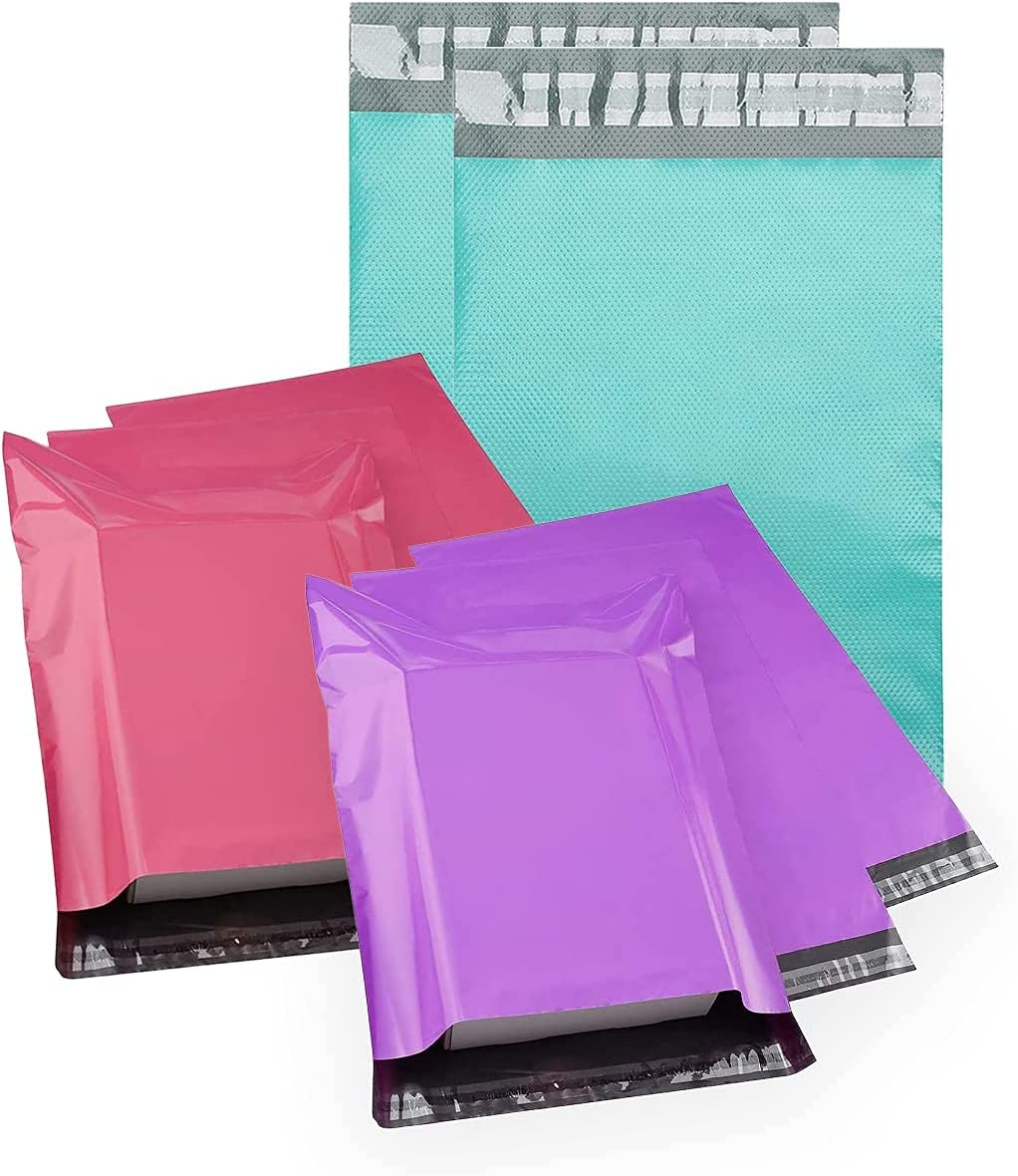 Metronic Poly Mailers Assorted Variety Popular overseas Teal Pack Omaha Mall Pink 14.5x19