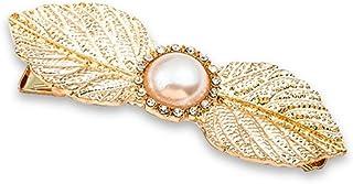 Osize 美しいスタイル シンプルなビッグツリーリーフパールヘアクリップサイドクリップヘアピンヘアデコレーションクリップ(ゴールド)
