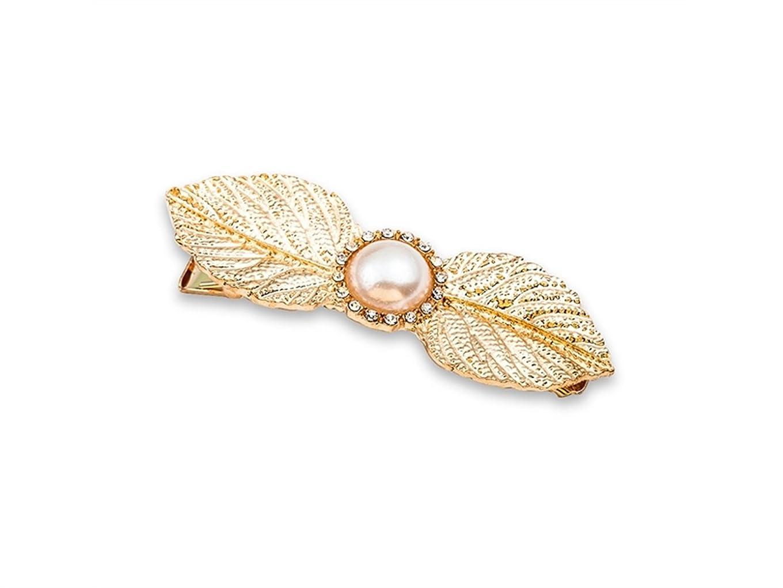 ペルー回答過剰Osize 美しいスタイル シンプルなビッグツリーリーフパールヘアクリップサイドクリップヘアピンヘアデコレーションクリップ(ゴールド)